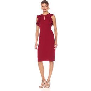 Shoshanna Darwin Flounced Sleeve Midi Dress